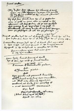 Notes Made by Izaak Walton, C1662