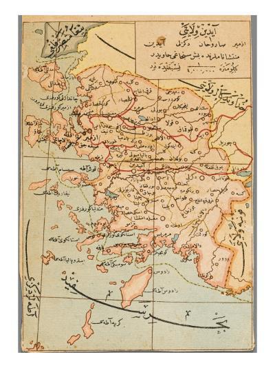 Izmir Region of Turkey - Map--Giclee Print