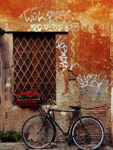 Bicycle Against Wall at Trastavere, Rome, Lazio, Italy by Izzet Keribar