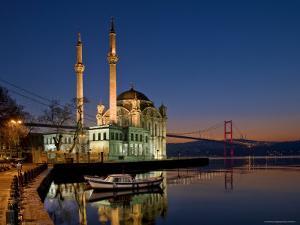 Ortakoy Mosque Looking Towards the Bosphorus Bridge, Seen in the Evening by Izzet Keribar