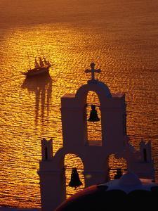 Sailing Ship and Church Bells at Sunset, Greece by Izzet Keribar