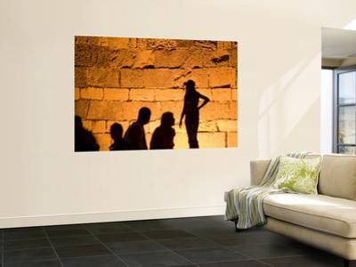 Shadows on Ancient Citys Walls at Night
