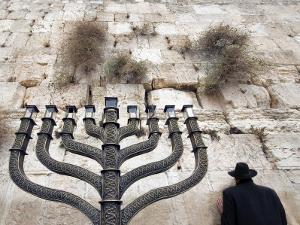 The Wailing Wall and Hanuka Chandelier by Izzet Keribar