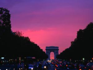 Traffic on the Champs-Elysees and the Arc De Triomphe After Sunset, Paris, Ile-De-France, France by Izzet Keribar