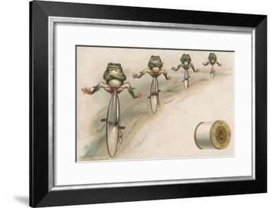 J and P Coats Trade Card of Frog Cyclists--Framed Giclee Print