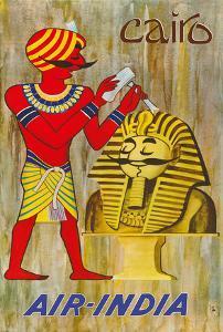 Cairo Egypt - Maharaja as Sphinx Statue - Air India by J. B. Cowasji