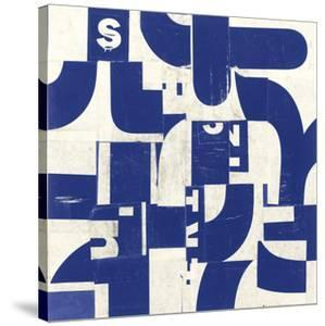Collaged Letters Blue D by J.b. Hall