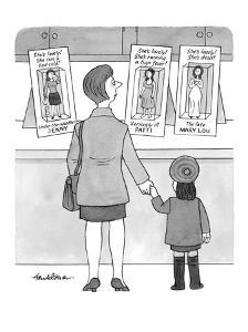 A mother and her daughter stand looking at three Barbie-like dolls:  Under? - New Yorker Cartoon by J.B. Handelsman