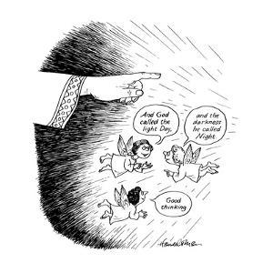 """Angels saying """"And God called the light Day, and the darkness he called Ni? - New Yorker Cartoon by J.B. Handelsman"""