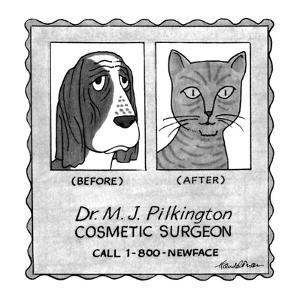 No Caption.Advertisement for cosmetic surgeon. There's a picture of a dog ? - New Yorker Cartoon by J.B. Handelsman