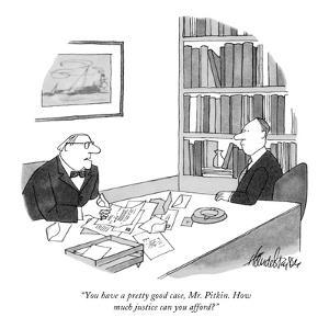 """You have a pretty good case, Mr. Pitkin. How much justice can you afford?"" - New Yorker Cartoon by J.B. Handelsman"