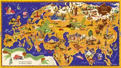 Around the World Map - Chocolat Menier - French Chocolate Company by J.B. Jannot