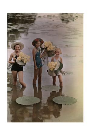 Amana Girls Standing in Water Holding Bunches of American Lotus by J^ Baylor Roberts