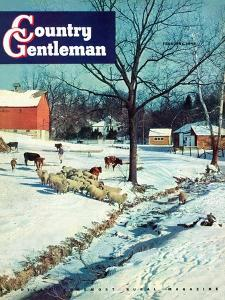 """Snowy Barnyard,"" Country Gentleman Cover, February 1, 1948 by J.c. Allen"