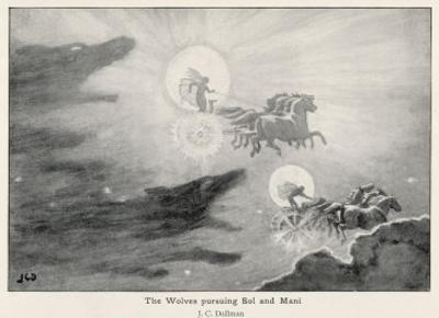 The Wolves Skoll (Repulsion) and Hati (Hate) Pursue Sol (Sun) and Mani (Moon) Across the Skies by J^c^ Dollman