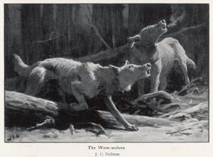 Two Werewolves Howl at the Full Moon by J.c. Dollman