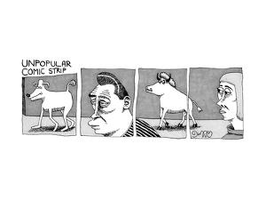 A four-paneled comic strip with a  person facing the rear end of a bull wh? - New Yorker Cartoon by J.C. Duffy