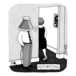 A man stands near the entryway of a room with a lampshade on his head. He ? - New Yorker Cartoon by J.C. Duffy