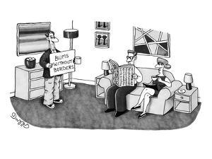 Bum holding a sign that says, 'Bums Without Borders,' standing in couple's? - New Yorker Cartoon by J.C. Duffy