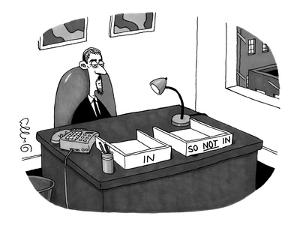 """Hip office worker, with goatee, with two boxes: one labeled """"In"""" and the o? - New Yorker Cartoon by J.C. Duffy"""
