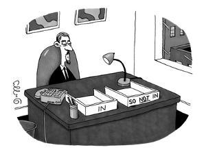 "Hip office worker, with goatee, with two boxes: one labeled ""In"" and the o? - New Yorker Cartoon by J.C. Duffy"