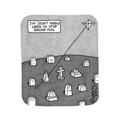 """""""Jim Didn't Know When to Stop Having Fun"""" -- A kite flies on a string comi... - New Yorker Cartoon"""