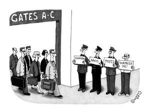 Man holding sign that says 'surprise me,' standing next to three limo driv? - New Yorker Cartoon by J.C. Duffy