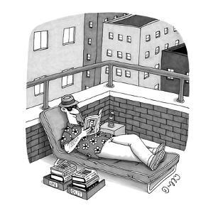 Man in a deck-chair has an 'In' and 'Out' box for his books. - New Yorker Cartoon by J.C. Duffy