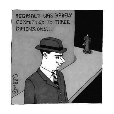 Man with hat has flattened face and stands near fire hydrant. - New Yorker Cartoon