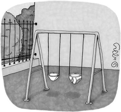 Playground swings in the form of a pair of panties and a pair of briefs. - New Yorker Cartoon by J.C. Duffy