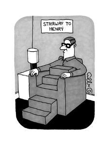 Stairway to Henry -- a Man sitting in a sofa chair has a body comprised, f... - New Yorker Cartoon by J.C. Duffy