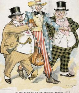 Illustration of Trusts and Monopolies Pickpocketing Uncle Sam by J.C. Taytor