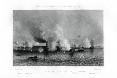Battle of the 'Monitor' and the 'Merrimack, Hampton Roads, Virginia, 9 March 1862 (1862-186) by J Davies