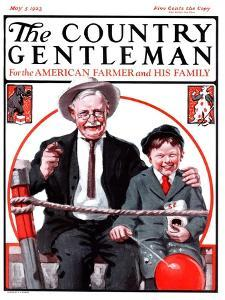 """""""At the Circus with Grandfather,"""" Country Gentleman Cover, May 5, 1923 by J.F. Kernan"""