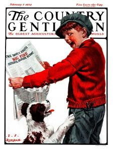 """Big Fire, Schoolhouse Burnt,"" Country Gentleman Cover, February 7, 1925 by J.F. Kernan"