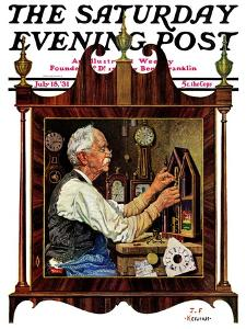 """Clockmaker,"" Saturday Evening Post Cover, July 18, 1931 by J.F. Kernan"
