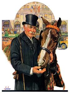 """Coachman and Horse,""November 29, 1930 by J.F. Kernan"