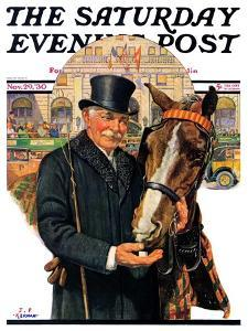 """""""Coachman and Horse,"""" Saturday Evening Post Cover, November 29, 1930 by J^F^ Kernan"""