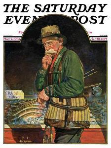 """Fishing at the Market,"" Saturday Evening Post Cover, May 2, 1931 by J.F. Kernan"