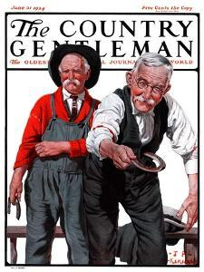 """""""Game of Horseshoes,"""" Country Gentleman Cover, June 21, 1924 by J.F. Kernan"""