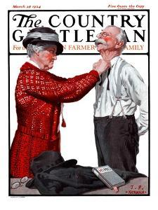 """""""Getting Ready for Church,"""" Country Gentleman Cover, March 29, 1924 by J.F. Kernan"""