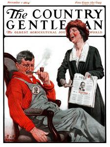 """Her Man Won!,"" Country Gentleman Cover, November 1, 1924 by J.F. Kernan"