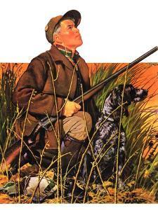 """Hunter and Dog in Field,""November 9, 1935 by J.F. Kernan"
