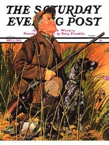 """""""Hunter and Dog in Field,"""" Saturday Evening Post Cover, November 9, 1935 by J.F. Kernan"""