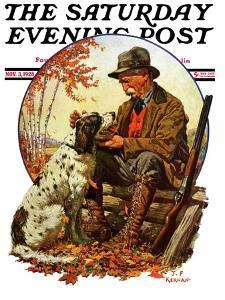 """Hunter and Spaniel,"" Saturday Evening Post Cover, November 3, 1928 by J.F. Kernan"