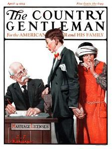 """""""Marriage License,"""" Country Gentleman Cover, April 14, 1923 by J.F. Kernan"""