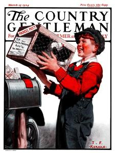 """""""Puppy by Parcel Post,"""" Country Gentleman Cover, March 15, 1924 by J.F. Kernan"""
