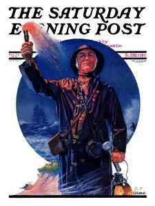 """""""Signaller,"""" Saturday Evening Post Cover, December 19, 1931 by J.F. Kernan"""