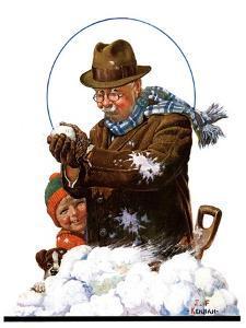 """""""Snowball Fight,""""January 25, 1930 by J.F. Kernan"""