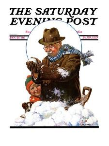 """Snowball Fight,"" Saturday Evening Post Cover, January 25, 1930 by J.F. Kernan"